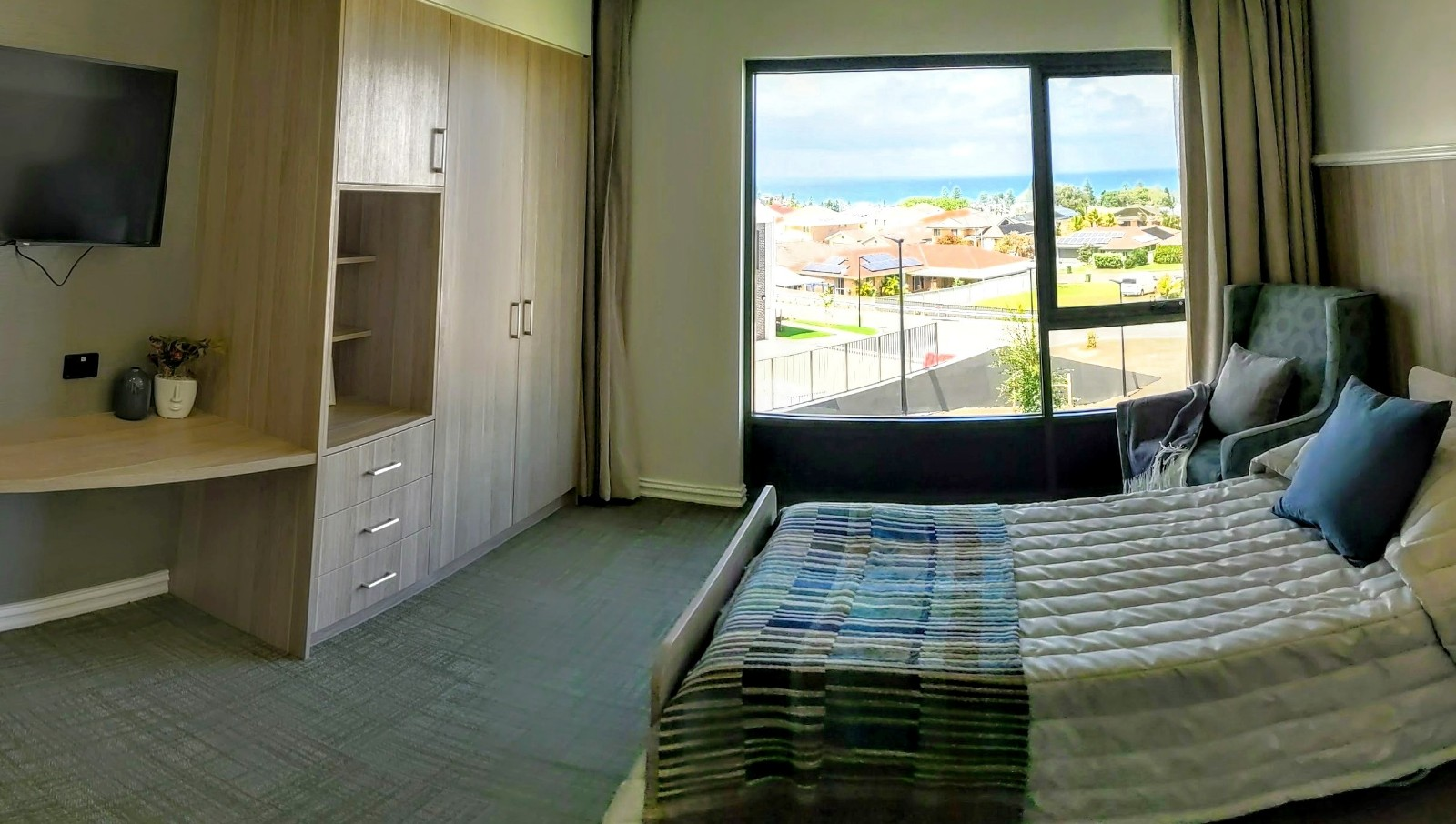 Aged care home single room with sea view